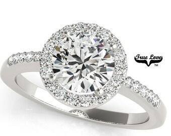 1.25 Carat Center Stone Moissanite Engagement Ring 14kt White Gold, Wedding Ring, Halo Engagement, Side Moissanites #7580