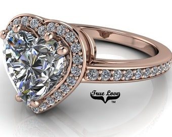 Moissanite Engagement Ring  Trek Quality #1 Colorless or C&C near colorless, 14kt Rose Gold Wedding Ring, Halo, Side Moissanites #6930