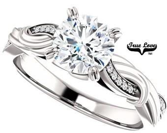 Moissanite Engagement Ring 14kt White Gold, Trek Quality #1, Wedding Ring, Twist Style #8171