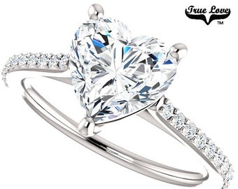 Moissanite Engagement Ring 14kt White Gold, Forever Brilliant 7 mm 1.50 Carat, Wedding Ring, Heart Ring  #6816