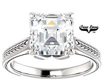 Moissanite Trek Quality #1 Engagement Ring  Asscher cut  2.20 Carat  8 mm 14kt White Gold, Trek Quality #1, Wedding Ring #8269
