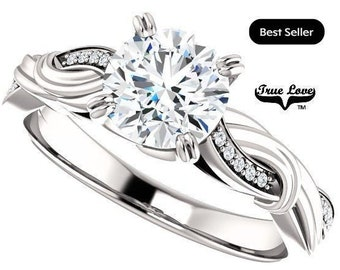 Moissanite Engagement Ring 14kt White Gold, Trek Quality #1, Wedding Ring, Twist Style #8171