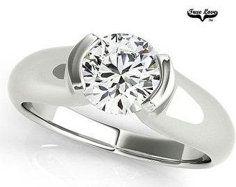 Moissanite Engagement Ring 14kt White Gold, Trek Quality #1, Wedding Ring, Round Solitaire, Bezel Set #7610