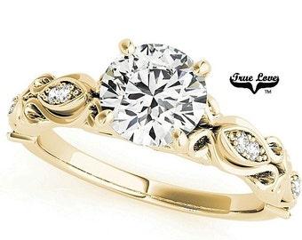 Moissanite Engagement Ring 14kt Yellow Gold #7714