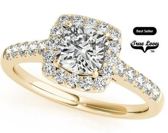 Moissanite Trek Quality #1, Center Stone from 1 to 2.5 Carat D-E colorless or GH Near colorless 14kt Yellow Gold Halo,Side Moissanites#7285