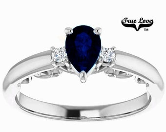 10 kt. White Gold True Love Round .60 Carat B Quality Blue Sapphire with Side diamonds Promise Ring. #8413
