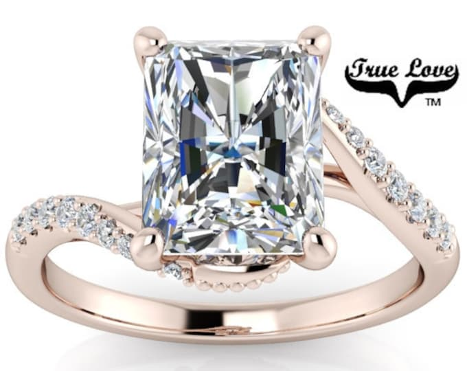 Featured listing image: Radiant Cut Moissanite  Engagement Ring 14 kt Rose Gold, Trek Quality #1 DE Colorless ,Spiral, Side Moissanites #8426