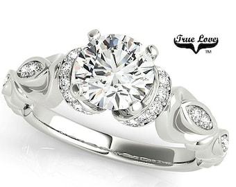 Moissanite Engagement Ring 14kt White Gold, Trek Quality #1, Wedding Ring, Round Engagement, Side Moissanites #7698