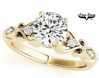 Moissanite Engagement Ring 14kt Yellow Gold, Wedding Ring, Side Moissanites, Decorative #7711