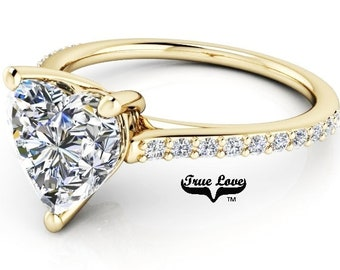 1, 1.25 or 1.50 Carat Moissanite Heart Shape E-F or G-H-I  Color VVs Clarity C & C or Trek Quality #1 Engagement Ring 14kt Yellow Gold.#6817