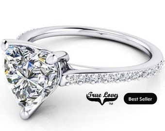 1, 1.25 or 1.50 Carat Moissanite Heart ShapeTrek Quality #1  D-E  or G-H-I- Color VVs Clarity C & C   Engagement Ring 14kt White Gold. #6816