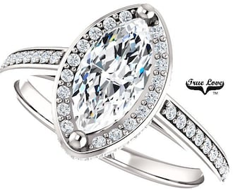 Moissanite Engagement Ring 14kt White Gold, Forever One, Wedding Ring, Marquise Diamond, Side Moissanites #8212