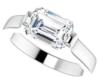 Trek Quality #1 Moissanite Emerald cut 8x6mm 1.80 Carat D-E Color  VVS Clarity  Engagement Ring 14kt White Gold, Solitaire #7783b