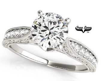 Moissanite Engagement Ring 14kt White Gold, Trek Quality #1, Wedding Ring, Side Moissanites #7520