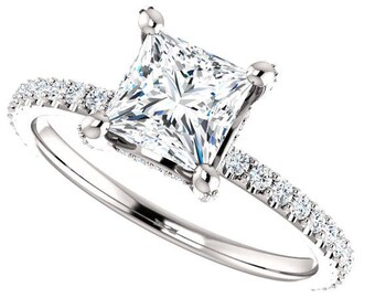 Lay Away for balance for Madisen  Moissanite Eng. Ring 14kt Gold,upgrade to 1.5 Carat Princess Cut Trek Quality #1 D-E Colorless, #8312La