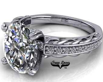 Oval Cut Moissanite Engagement Ring from 1.5 up to 3  Carat center , Trek Quality #1,D-E Colorless VVS Clarity Platinum #6806P