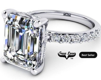 1.75,2.50,4 or 5 Carat Moissanite,TrekQuality #1 D-E-F or G-H Color VVS Clarity Emerald Cut, Brand:True Love Eng. Ring Platinum #8360PE