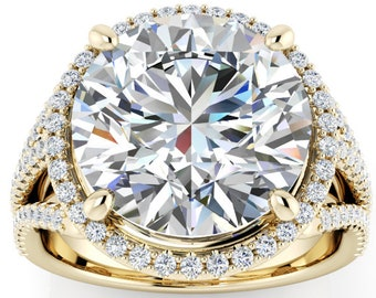 2,3,4,5 or 6 Carat Moissanite Engagement Ring Trek Quality #1 D-E-F or G-H ColorVVS Clarity as Listed Round brilliant Cut 14kt Gold #8405