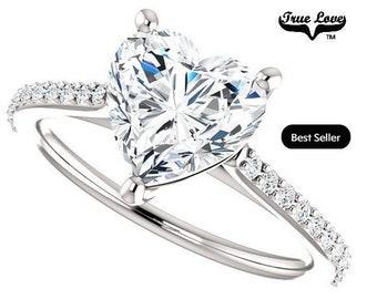 Moissanite Engagement Ring 14kt White Gold, Forever Brilliant 7 mm 1.50 Carat, Wedding Ring, Heart Ring  #6816