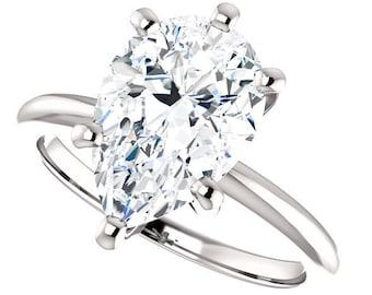 3.00 Carat 12 x 8 mm Trek Quality #1 G-H Color VVS Clarity Pear shape  Moissanite Wedding set 14 kt White Gold,  Wedding Ring, #8364C