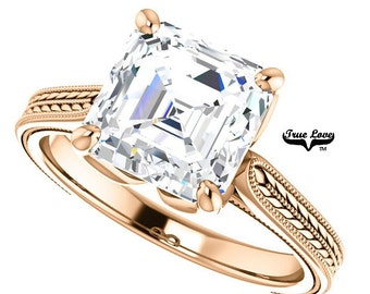 Trek Quality #1 Moissanite Asscher Cut 2.20 carat 8 mm  Engagement Ring 14kt Rose Gold #8279