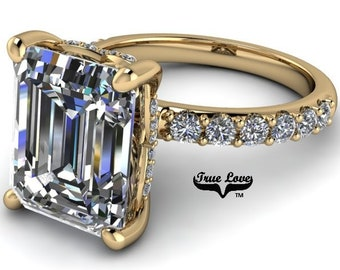 1.75,2.50,4 or 5 Carat Moissanite,TrekQuality #1 D-E-F or G-H Color VVS Clarity Emerald Cut, Brand:True Love Eng. Ring 14 kt.Gold #8360YE
