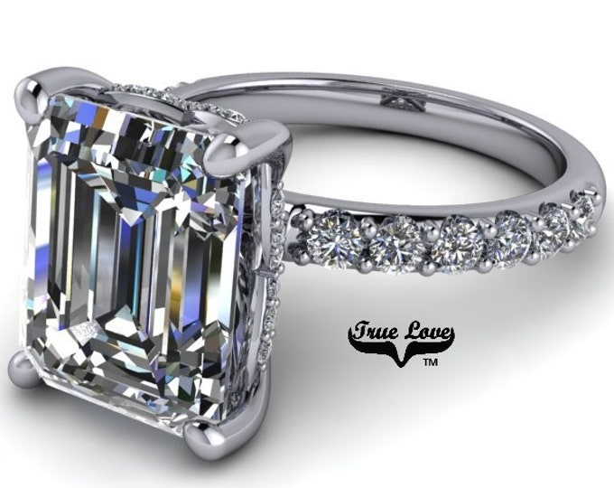1.75,2.50,4 or 5 Carat Moissanite,TrekQuality #1 D-E-F or G-H Color VVS Clarity Emerald Cut, Brand:True Love Eng. Ring 14 kt.Gold #8360WE