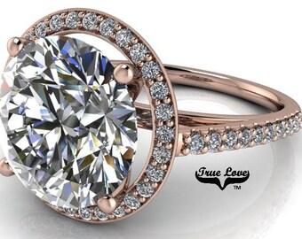 1 ,2, 3,4 or 5 Carat Round  Moissanite Trek Quality #1 D-E-F or G-H Color VVS Clarity,Brand:True Love Engagement Ring 14kt Rose Gold #7125