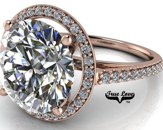 5 Carat Round  Moissanite Trek Quality#1 D-E-F Colorless VVS Clarity,Brand:True Love Engagement Ring 14kt Rose Gold  Ready to Ship  #7125