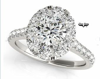 Moissanite Engagement Ring 14kt White Gold, Trek Quality #1, Wedding Ring, Oval Halo, Oval Engagement, Side moissanites #7220