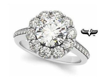 Moissanite Engagement Ring 14kt White Gold, Trek Quality #1, Wedding Ring, Round Halo, Side Moissanites #7178