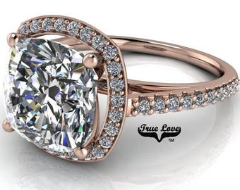 1.80,2.65 or 3.80 Carat Moissanite Cushion Cut Trek Quality #1 D-E-F or G-H Color VVS Clarity.Brand:True Love Eng.Ring 14kt Rose Gold  #7119