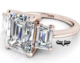1.50,2.50 or 3 Carat Moissanite Trek Quality#1 D-E-F or G-H Color VVS Ckarity Brand : True Love Engagement Ring 14kt Rose Gold,   #7830