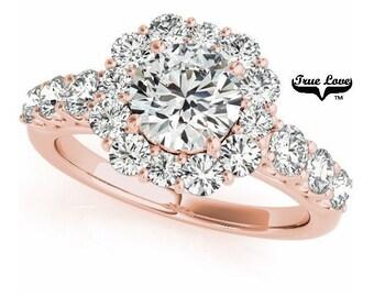 Moissanite Engagement Ring 14 kt. Rose Gold, Trek #1Quality D-E Color  Moissanites Wedding Ring,Halo Engagement with Side Moissanites #7231