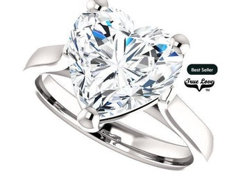 Moissanite Engagement Ring .80,1.20,1.80,2.70,or 3.70 Carat Heart Cut Solitaire Platinum, #6822P
