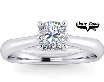 Mined Canadian Diamond   Engagement Ring   Platinum .50 Carat GIA Certified Color Grade E Clarity VS1 Cut Grade Very Good .#6728P