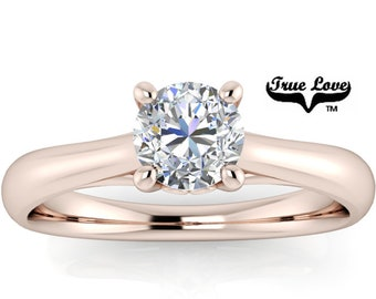 Mined Canadian Diamond  Engagement Ring  14kt Rose Gold, .50 Carat GIA Certified Color Grade E Clarity VS1 Cut Grade Very Good .#6728R