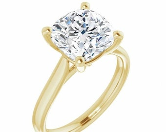 Lay Away for David Payment 5 of 6.  9 mm 4 Carat DE VVS Moissanite Cushion Cut   Ring Trek Quality #1 D-E Colorless 14 kt Yellow Gold  #6840