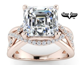 Moissanite Engagement Ring 14kt Rose Gold,4 Carat Asscher Cut, Wedding Ring, Infinity, Side Moissanites #8423