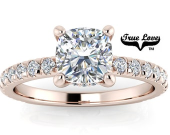 Mined Diamond .94 Carat AGS Certified F Color VS2 Clarity Cushion cut. Engagement Ring, 14kt Rose Gold  #6729R
