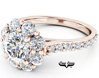 Moissanite Engagement Ring, Trek Quality #1 D-E colorless or G-H near colorless, VVS clarity set in 14kt Rose Gold  #6994A