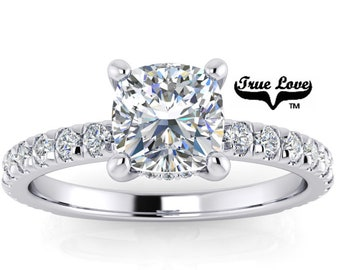 Mined Diamond .94 Carat AGS Certified E Color VS2 Clarity Cushion cut. Platinum Engagement Ring  #6729P