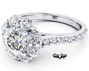 Moissanite Engagement Ring, Trek Quality #1 D-E colorless or G-H near colorless, VVS clarity set in 14kt Platinum #7029PA