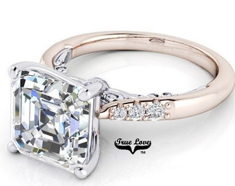 Asscher cut Moissanite Trek Quality #1 D-E Colorless or G-H Near Colorless Engagement Ring 14kt White on Rose Gold  #8419