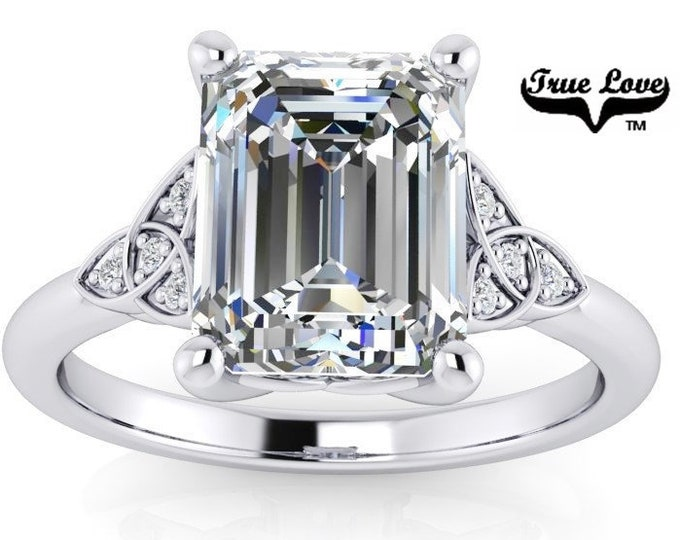 Featured listing image: Emerald Cut Moissanite Engagement Ring Trek Quality #1 D-E or G-H Color VVS Clarity 14 kt. White Gold #8428