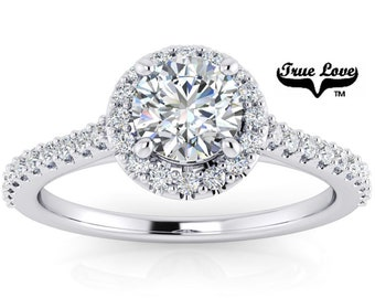 Mined Canadian Diamond Halo Engagement Ring Platinum, .50 Carat GIA Certified Color Grade E Clarity VS1 Cut Grade Very Good .#6727P