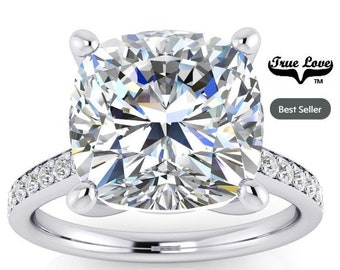 2,3 & 5 Carat Moissanite Engagement Ring Trek Quality #1 D-E  or G-H Color VVS Clarity as Listed cushion Cut 14 kt W Gold, Wedding Ring#8318