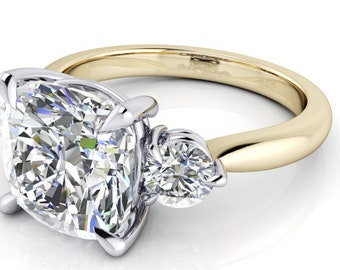 Moissanite Cushion Cut 3.3 Carat 9 mm Center, Trek Quality #1 D-E Colorless Three Stone ring   14kt Two tone Gold #3886