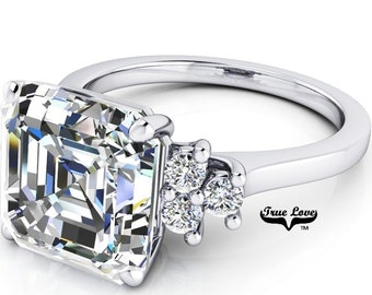 1.25 up to 6 Carat Asscher Cut Moissanite Trek quality #1  VVs Clarity D E F or GH Color as Listed ,14 kt White Gold, side stones #8357W