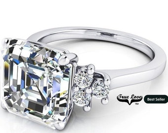 1.25 up to 6 Carat Asscher Cut Moissanite Trek quality #1  VVs Clarity D E F or GH Color as Listed Platinum, side stones #8357P